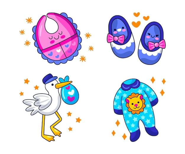 Conjunto de ilustração de adesivos para chá de bebê