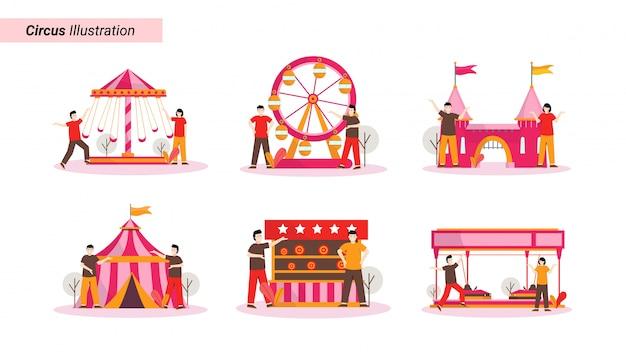 Conjunto de ilustração de alguém brincando e assistindo a um show de circo