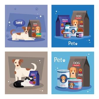 Conjunto de ilustração de alimentos para animais e elementos