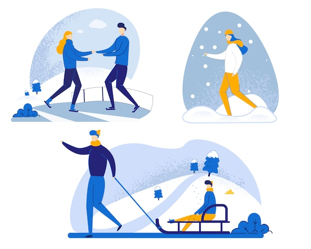 Conjunto de ilustração de andar no inverno em desenhos animados de neve.