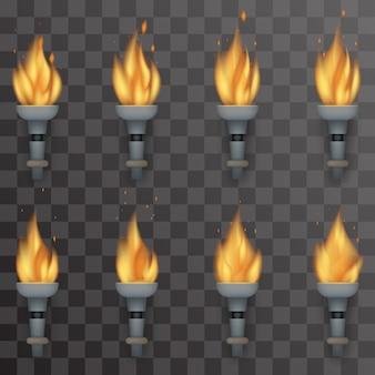 Conjunto de ilustração de animação de fogo de tocha