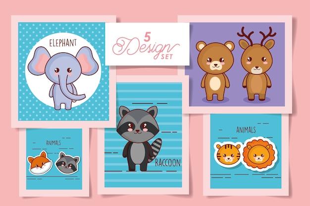 Conjunto de ilustração de animais fofos