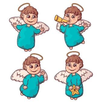Conjunto de ilustração de anjo de natal desenhada à mão