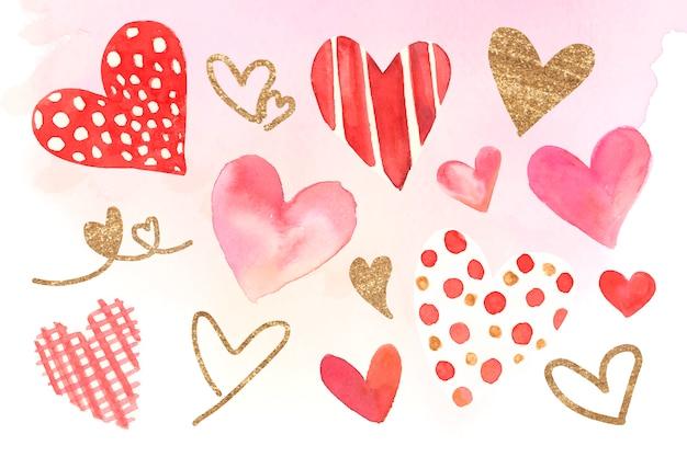 Conjunto de ilustração de aquarela de ícones de coração