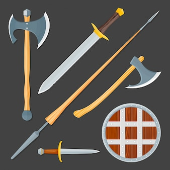 Conjunto de ilustração de arma fria medieval