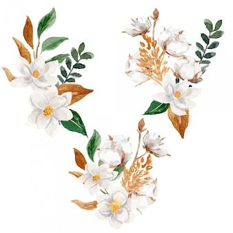 Conjunto de ilustração de arranjo de flores em aquarela de algodão e magnólia em aquarela