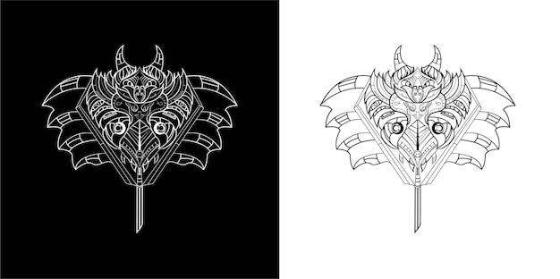 Conjunto de ilustração de arte de linha de máquina escura de morcego