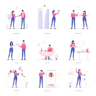 Conjunto de ilustração de atividades no local de trabalho