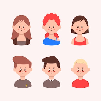 Conjunto de ilustração de avatar de pessoas