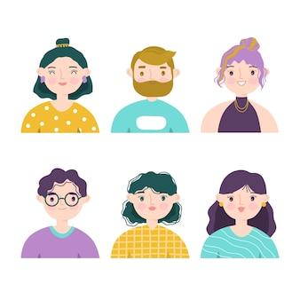 Conjunto de ilustração de avatares de pessoas