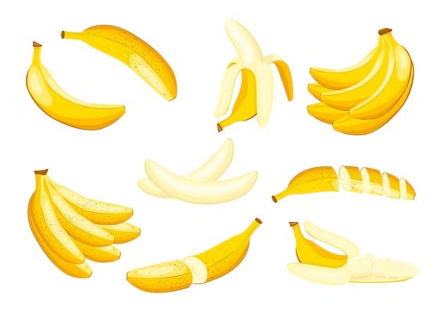 Conjunto de ilustração de banana isolado no fundo branco.