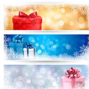 Conjunto de ilustração de banners de natal de inverno