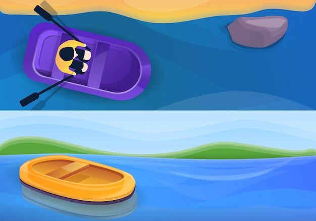 Conjunto de ilustração de barco inflável de borracha, estilo cartoon