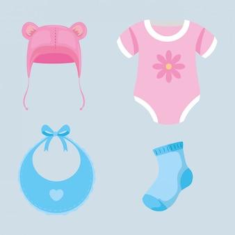 Conjunto de ilustração de bebê fofo roupas