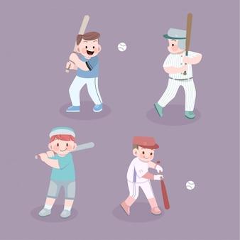 Conjunto de ilustração de beisebol de atividade de filhos bonitos