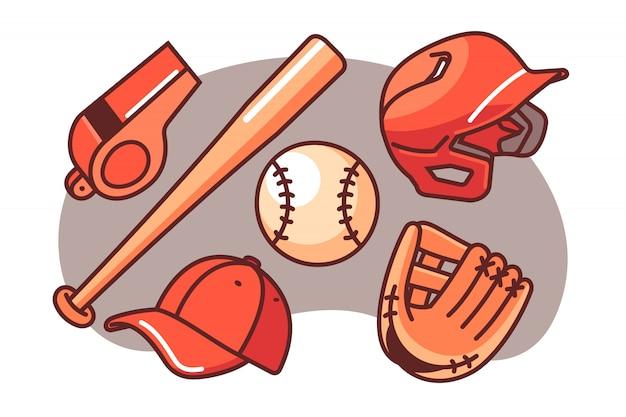 Conjunto de ilustração de beisebol