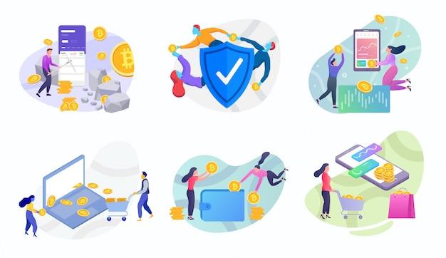 Conjunto de ilustração de bitcoin de moeda crypto