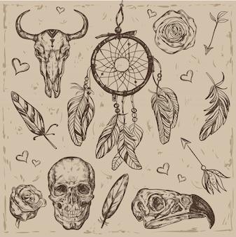 Conjunto de ilustração de boho de caveira