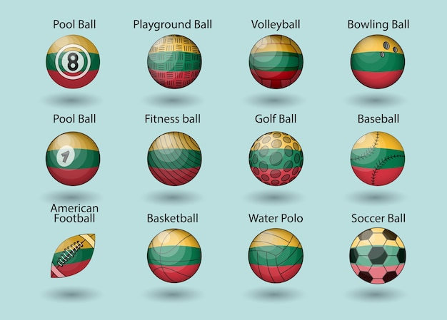 Conjunto de ilustração de bolas de esporte da bandeira do país da lituânia.