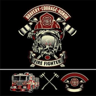Conjunto de ilustração de bombeiro
