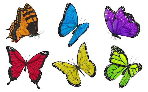Conjunto de ilustração de borboletas coloridas.