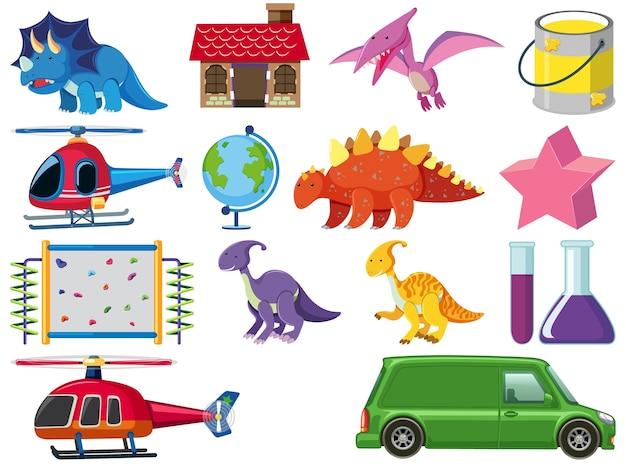 Conjunto de ilustração de brinquedos infantis