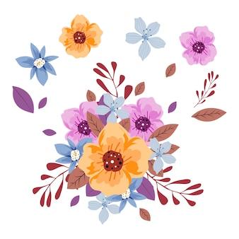 Conjunto de ilustração de buquê de flores 2d