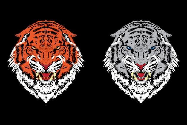 Conjunto de ilustração de cabeça de tigre.
