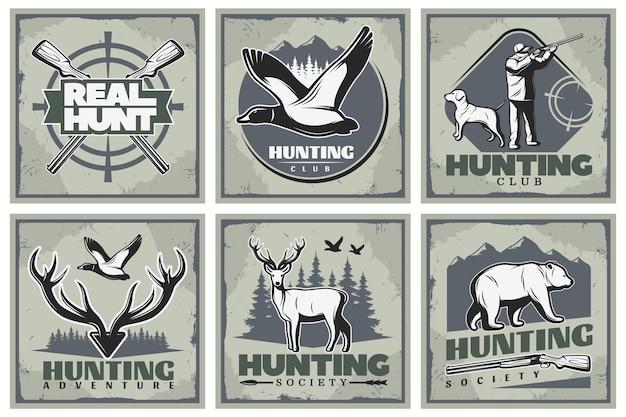 Conjunto de ilustração de caça e aventura