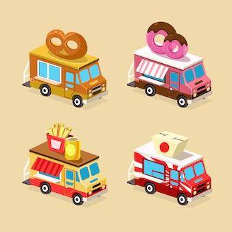 Conjunto de ilustração de caminhão de comida