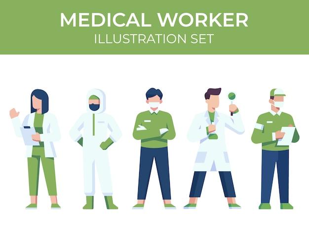 Conjunto de ilustração de caracteres de trabalhador médico