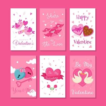 Conjunto de ilustração de cartão de dia dos namorados