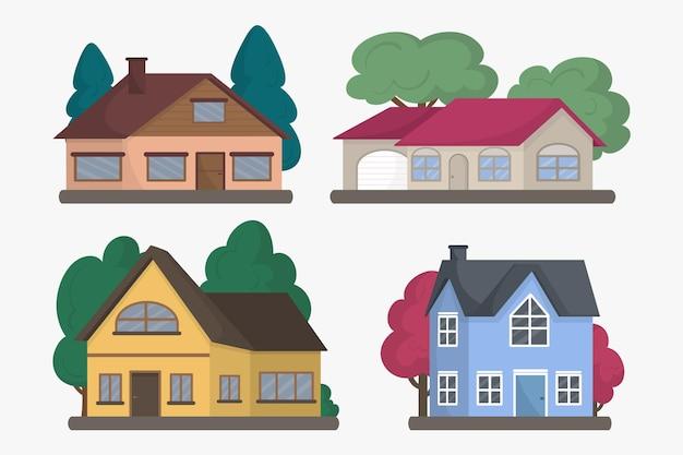 Conjunto de ilustração de casa