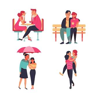 Conjunto de ilustração de casais apaixonados