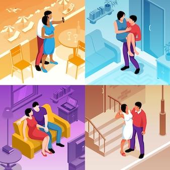 Conjunto de ilustração de casal isométrico