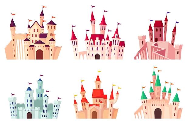 Conjunto de ilustração de castelos medievais dos desenhos animados.