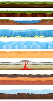 Conjunto de ilustração de cena de chão de jogos com grama, pedra, gelo, mar, oceano