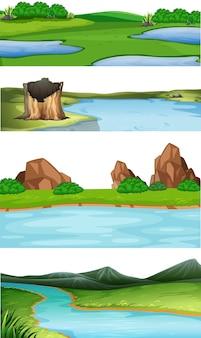 Conjunto de ilustração de cenas de natureza diferente