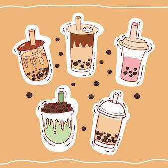 Conjunto de ilustração de chá de leite de bolha desenhada mão.