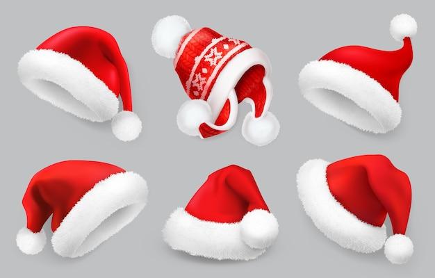 Conjunto de ilustração de chapéu de papai noel. roupas de inverno.