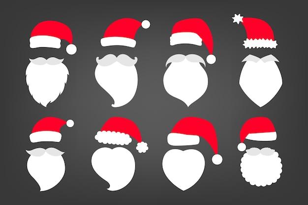 Conjunto de ilustração de chapéus vermelhos e brancos de papai noel, bigode e barba. conjunto de feriado do símbolo do personagem de natal para decoração festiva