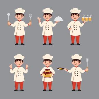 Conjunto de ilustração de chef