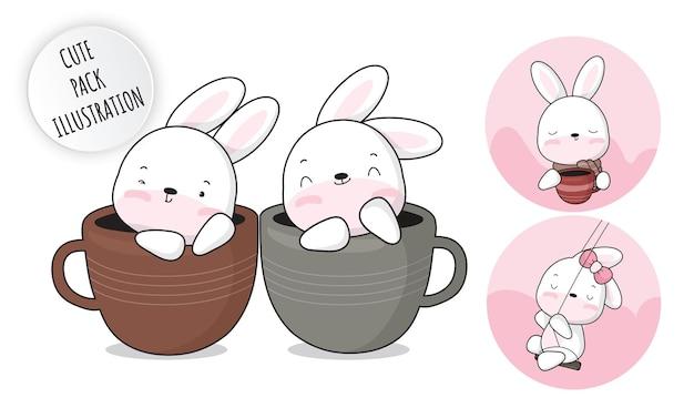 Conjunto de ilustração de coleção de coelhinho branco de bebê fofo plano