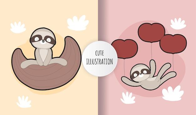 Conjunto de ilustração de coleção de preguiça plana fofa