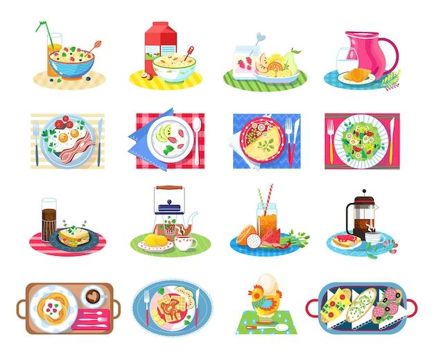 Conjunto de ilustração de comida saudável para café da manhã