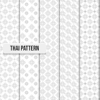 Conjunto de ilustração de conceito abstrato tradicional de padrão tailandês