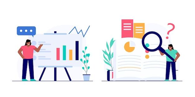 Conjunto de ilustração de conceito de análise de negócios