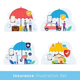 Conjunto de ilustração de conceito de design de seguro