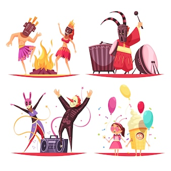 Conjunto de ilustração de conceito de fantasias de carnaval