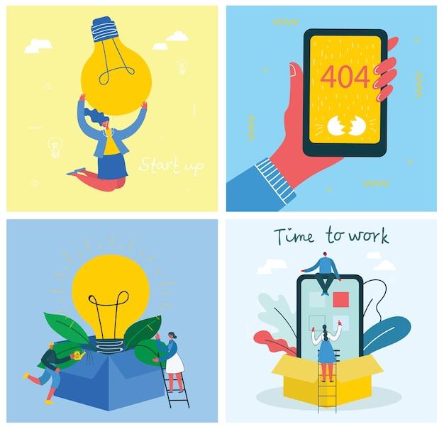 Conjunto de ilustração de conceito de negócio. comece com lâmpadas em estilo plano moderno.